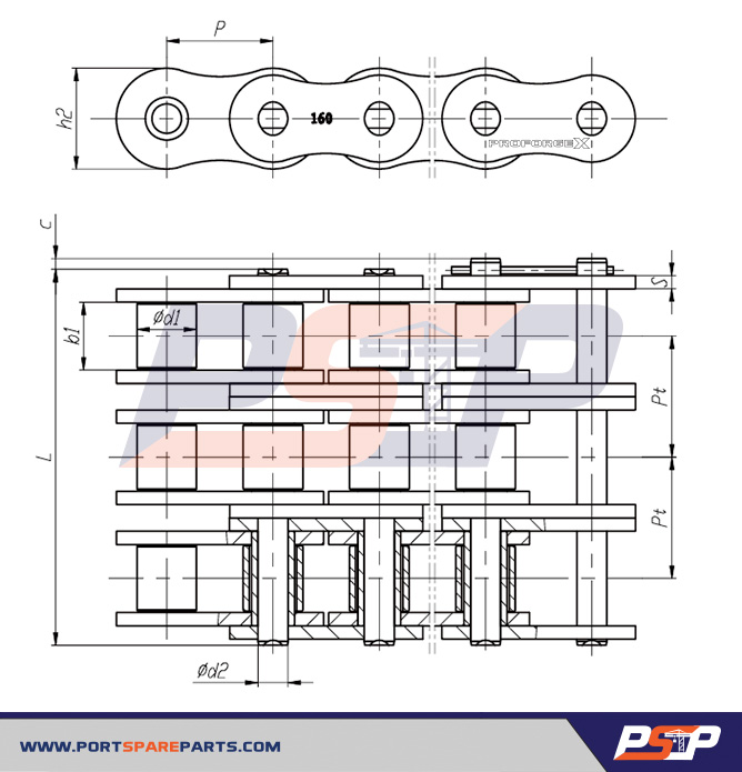 3.84 Length Senqcia Inspire Series 160-4OL Offset Link for ASME//ANSI Standard Roller Chain Quad Strand 2 Pitch